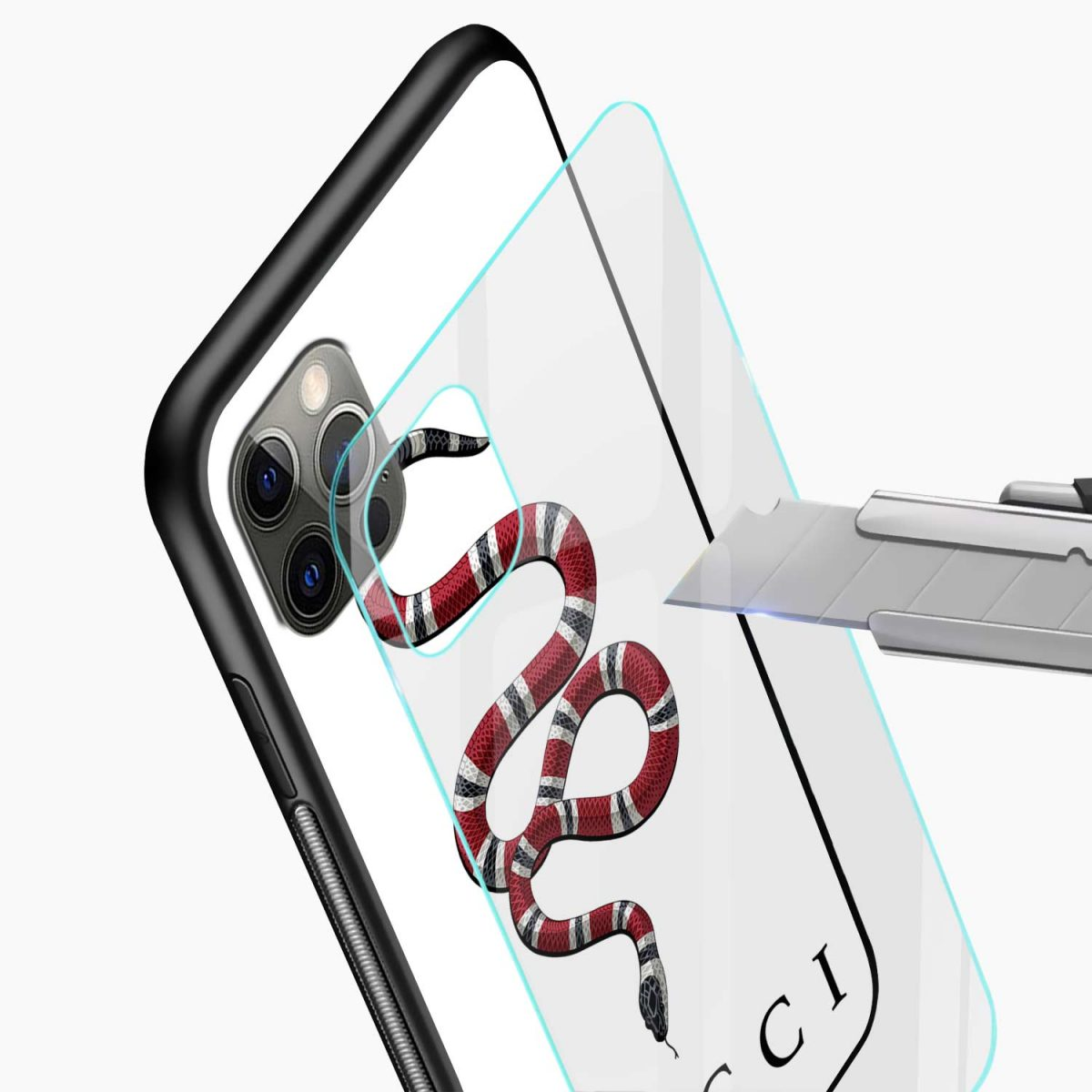 white gucci snake iphone pro back cover glass view