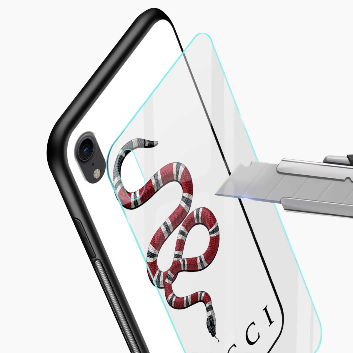 white gucci snake apple iphone xr back cover glass view
