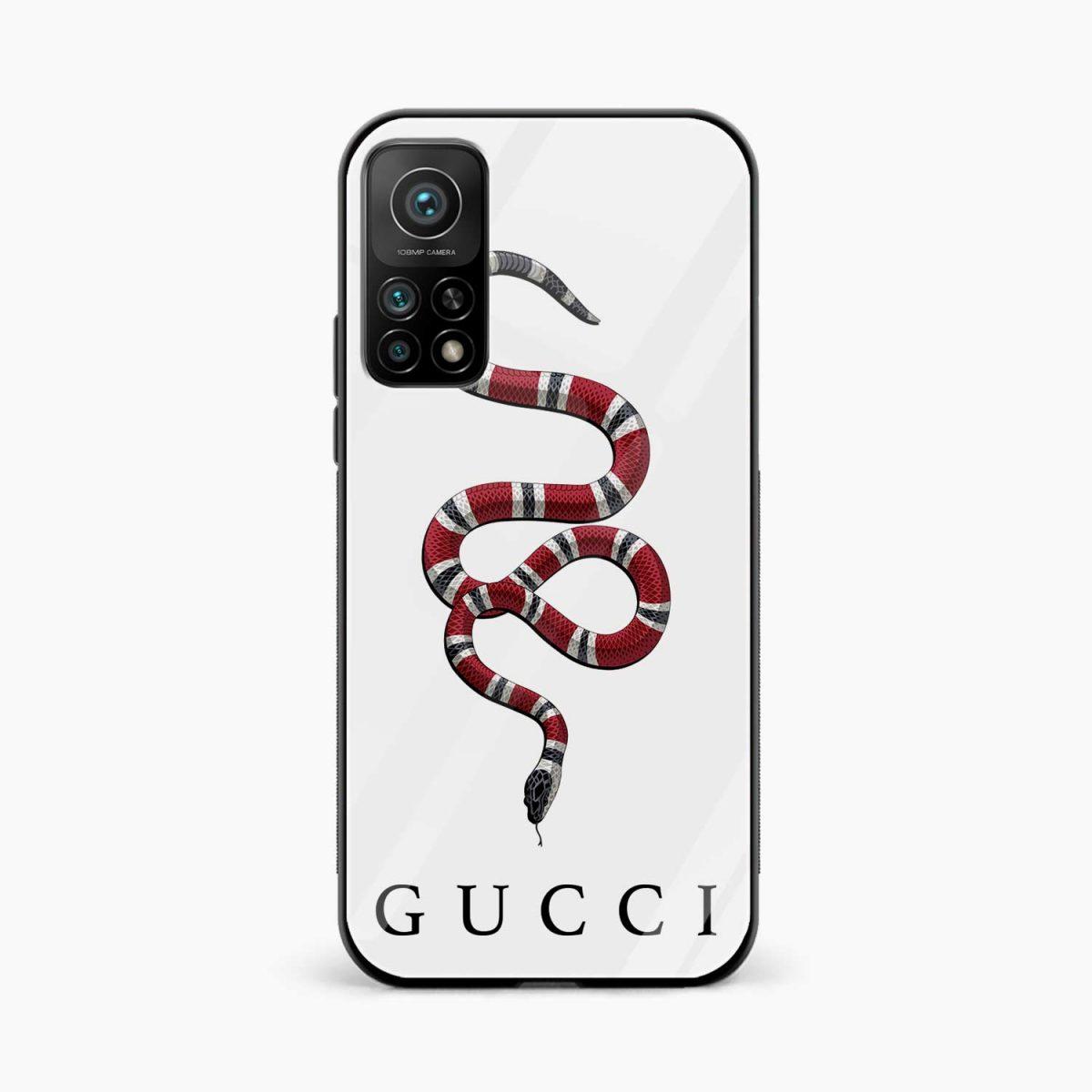 white gucci snake xiaomi mi 10t pro back cover front view