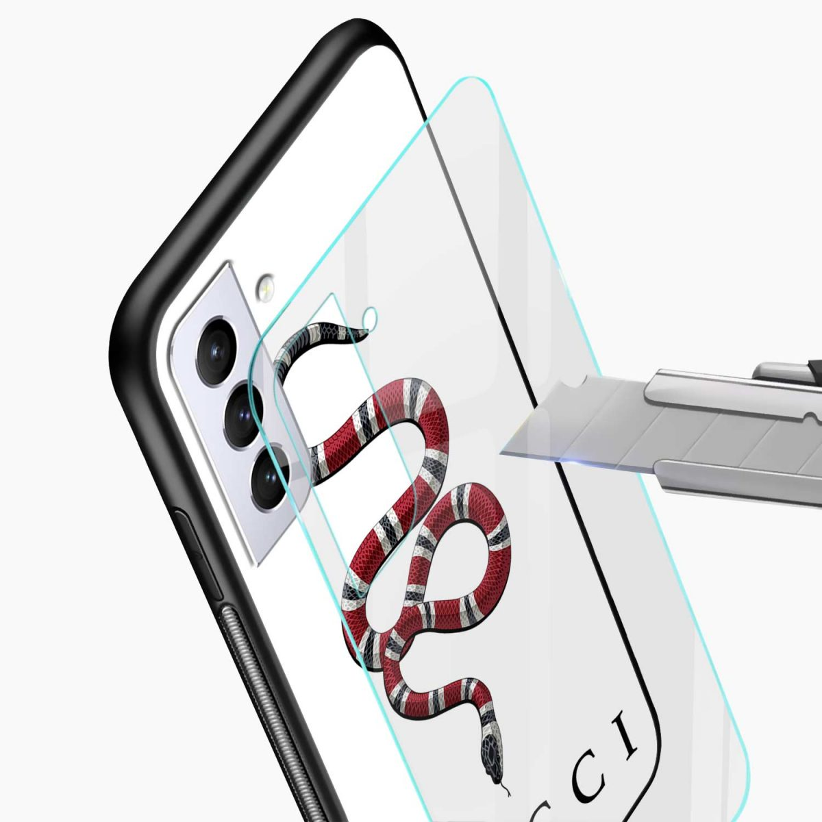 white gucci snake glass view samsung s21 plug back cover