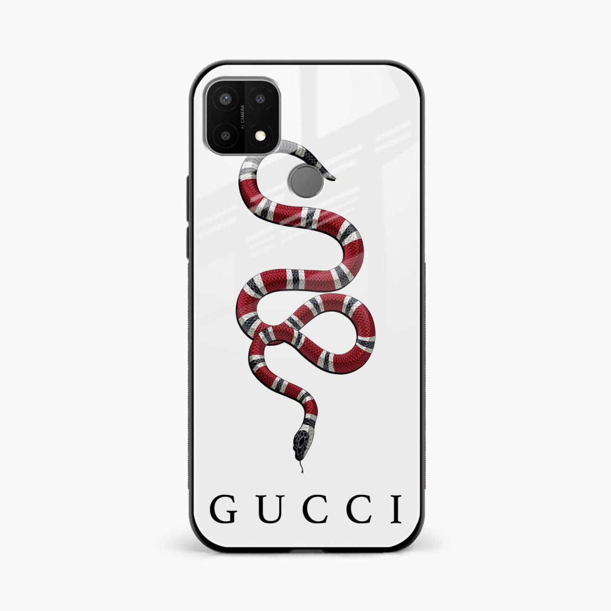 white gucci snake front view oppo a15 back cover