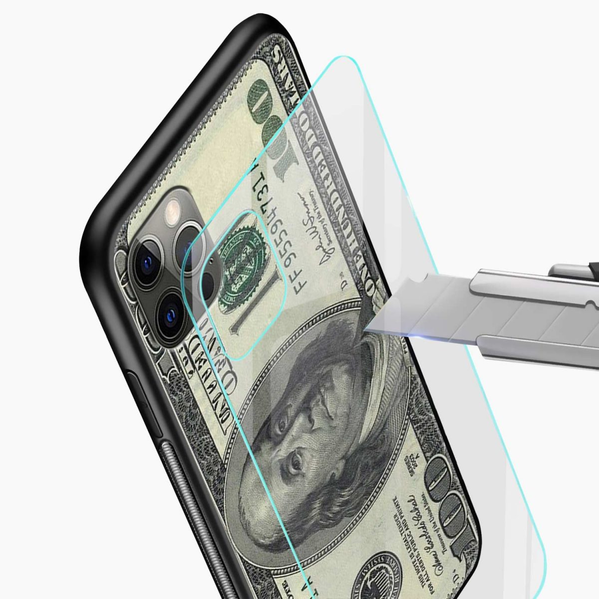 dollar iphone pro back cover glass view