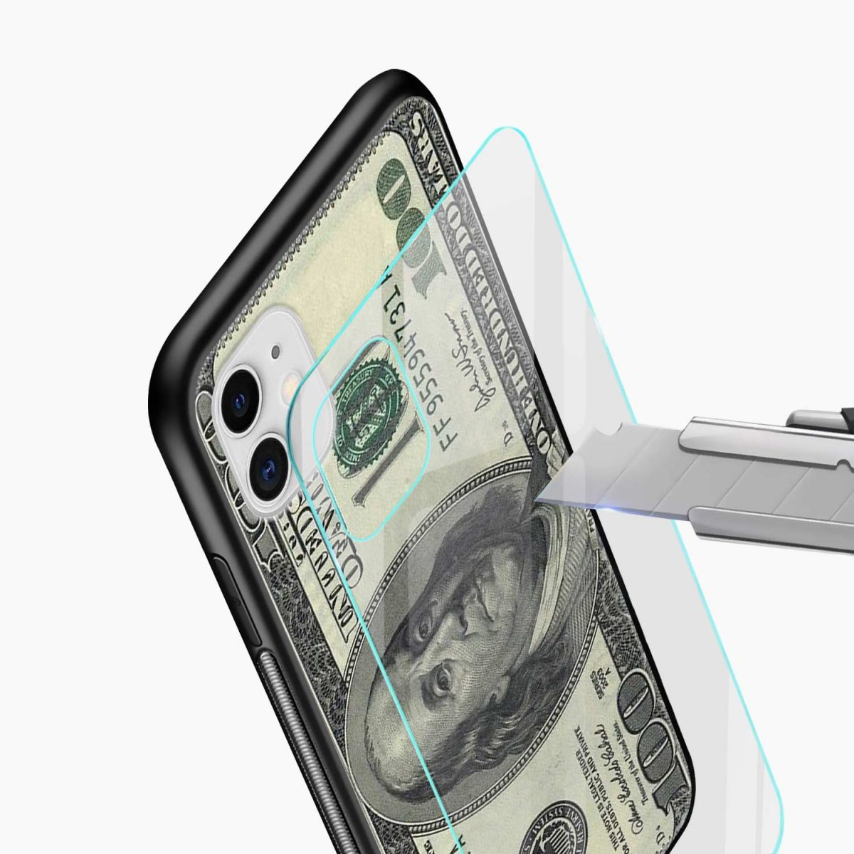 dollar iphone back cover glass view