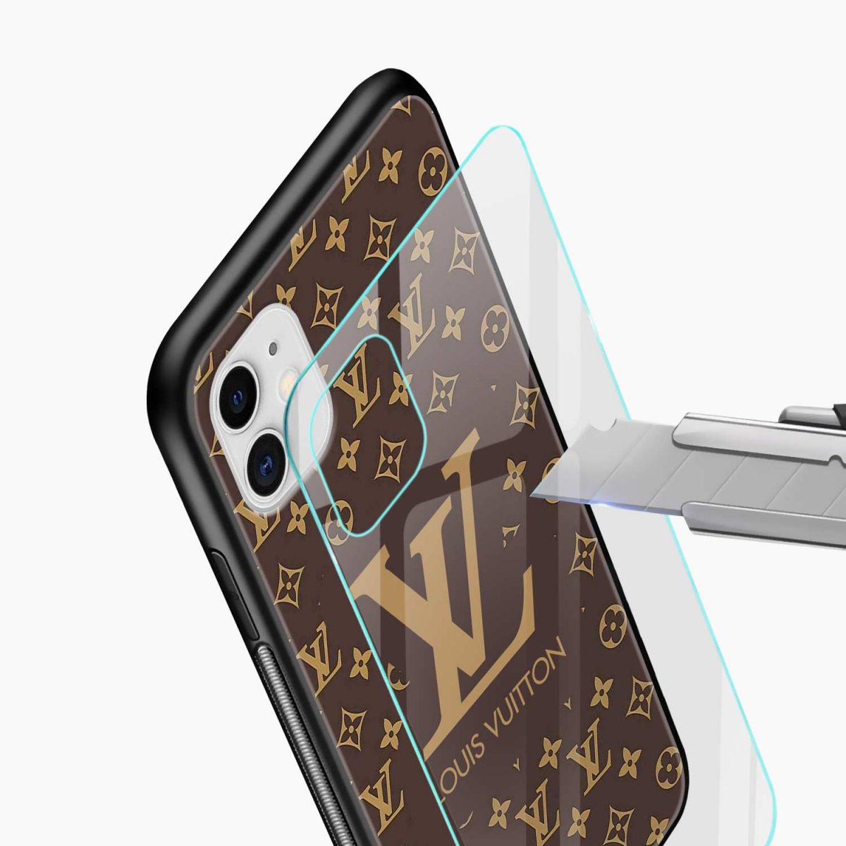 louis vuitton iphone back cover glass view