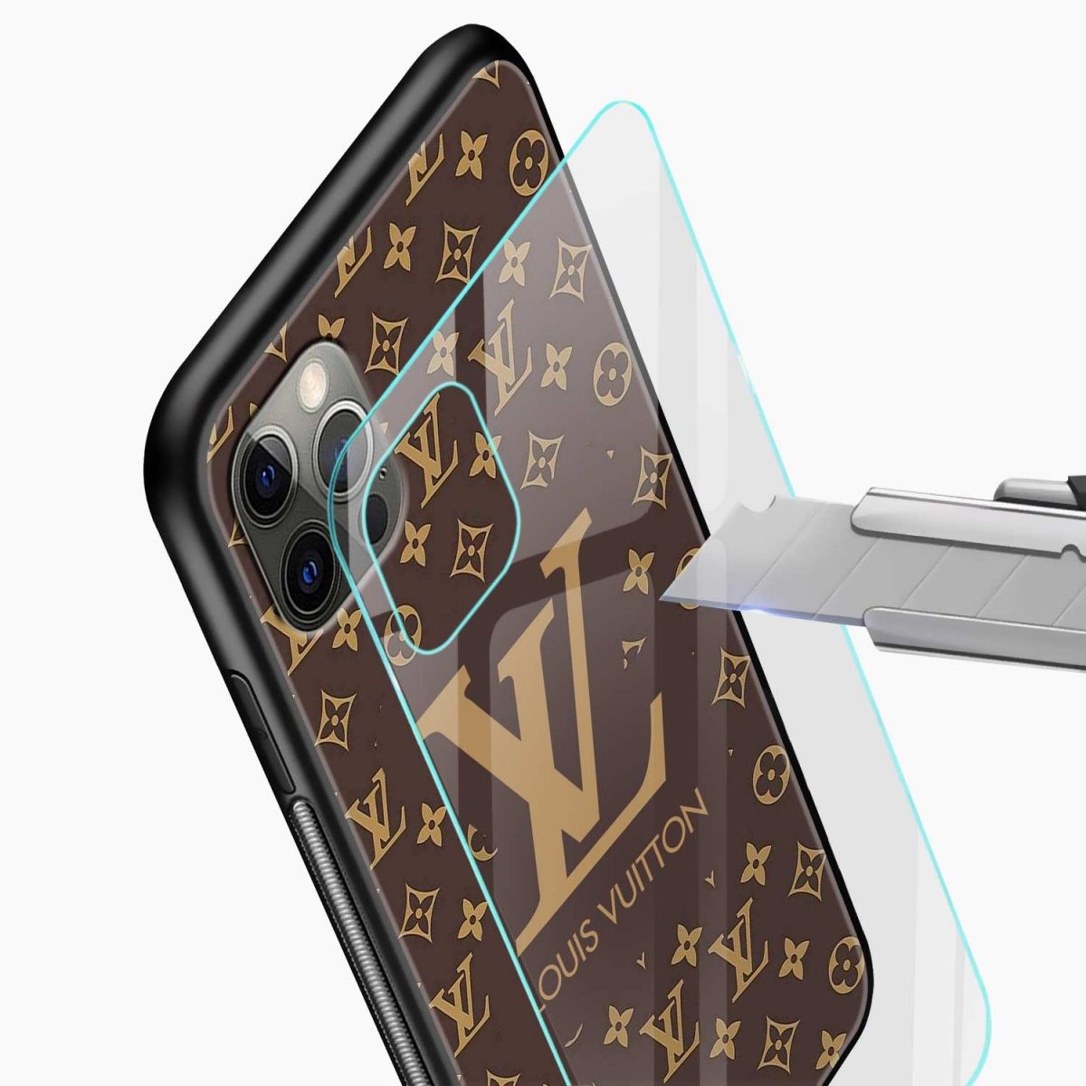 louis vuitton iphone pro back cover glass view