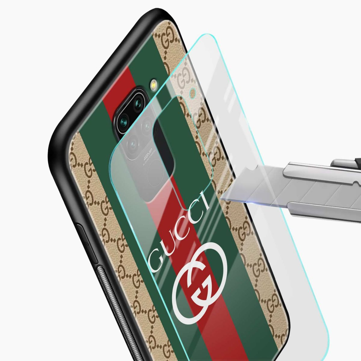 gucci strips pattern glass view redmi note 9 back cover