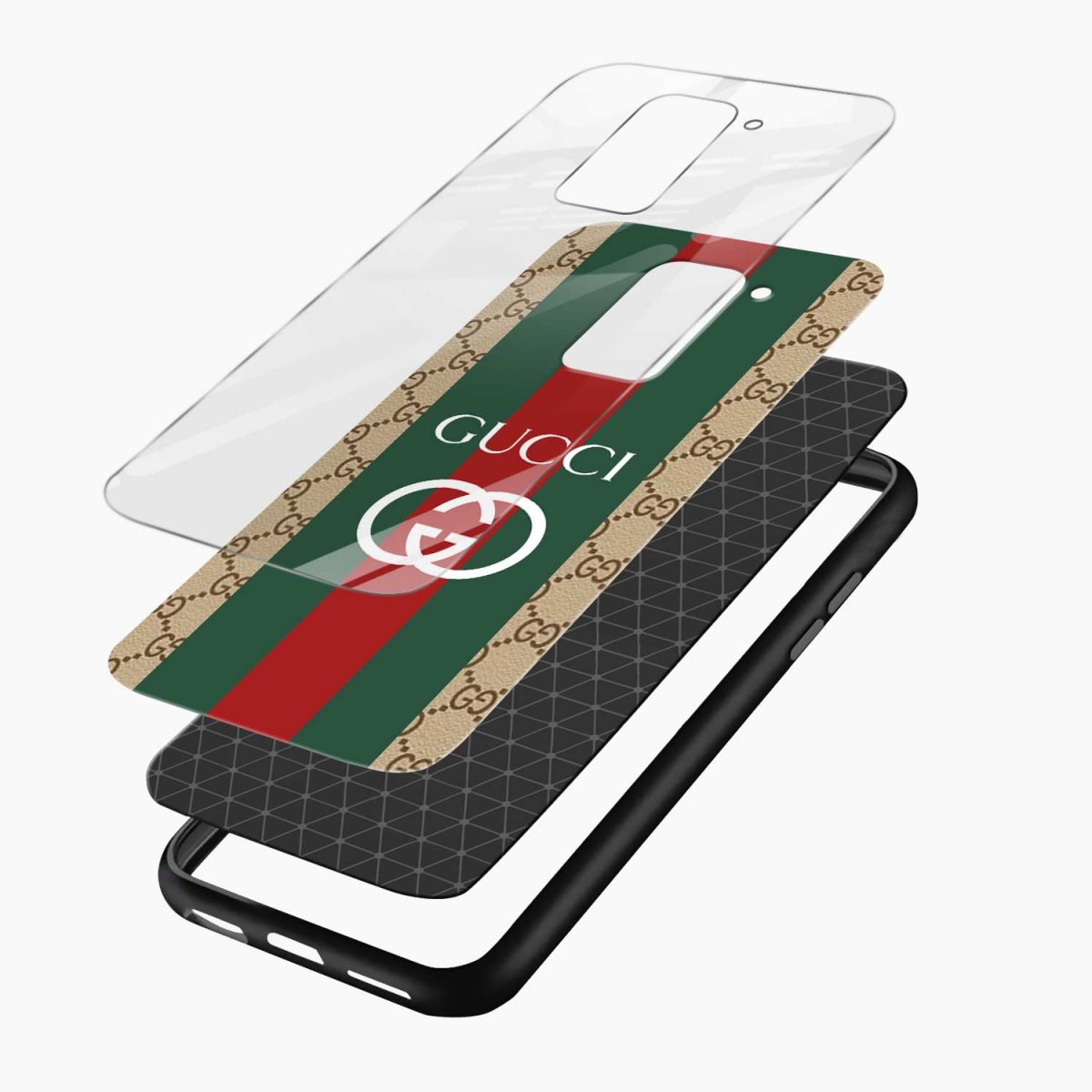 gucci strips pattern layers view redmi note 9 back cover