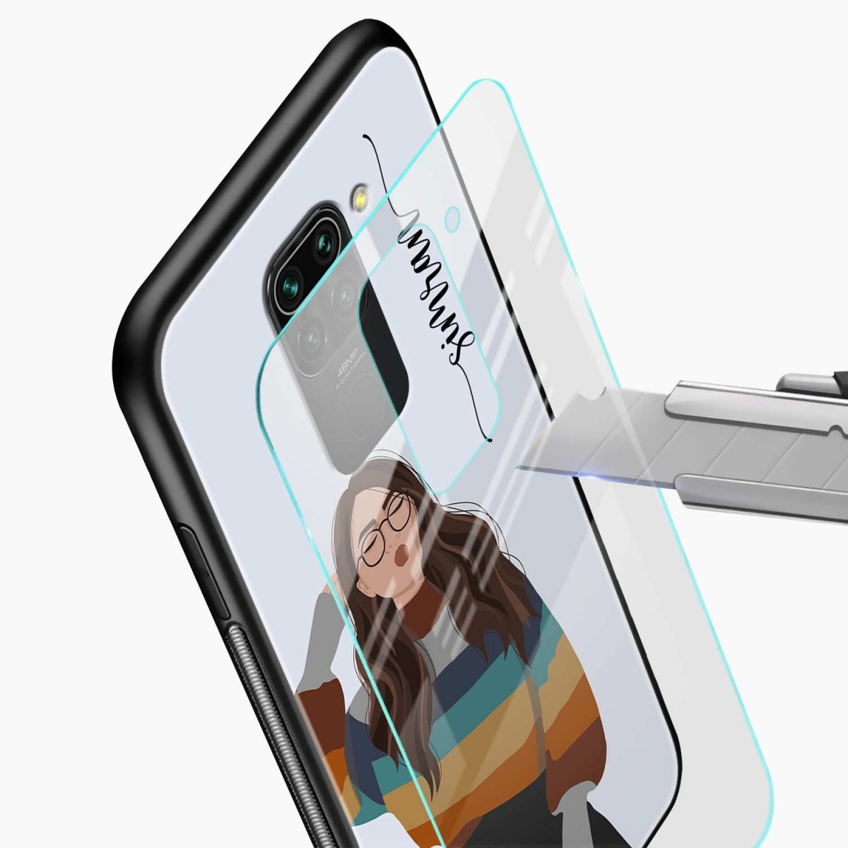 its me glass view redmi note 9 back cover
