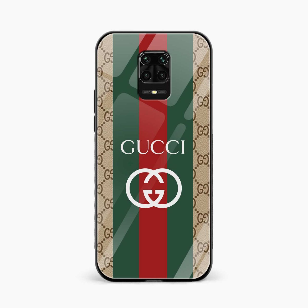 gucci strips pattern front view redmi note9 back cover