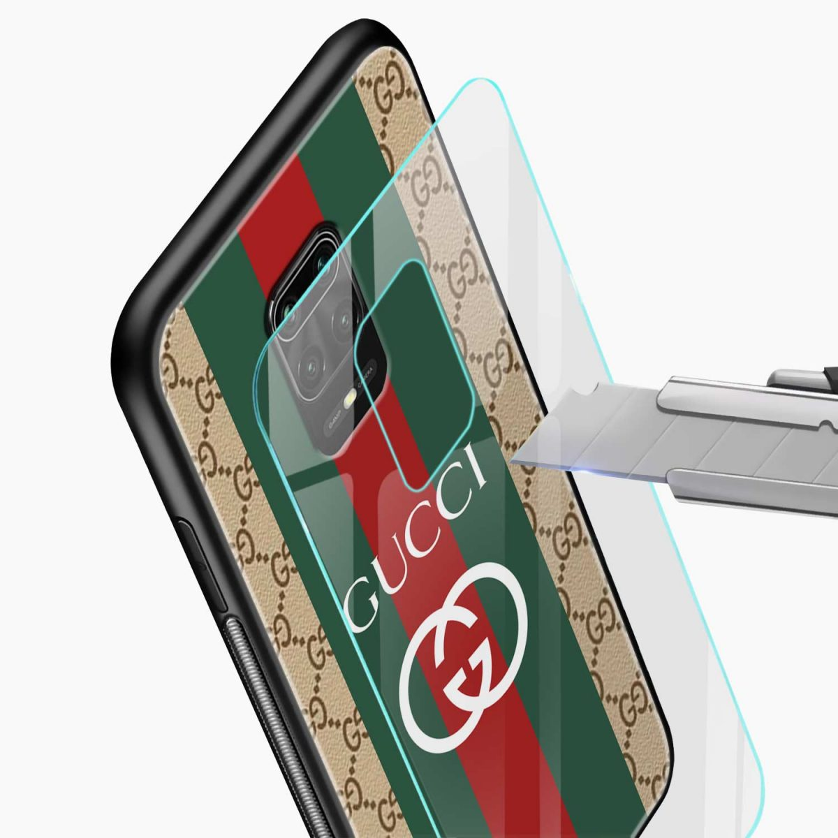 gucci strips pattern glass view redmi note9 back cover