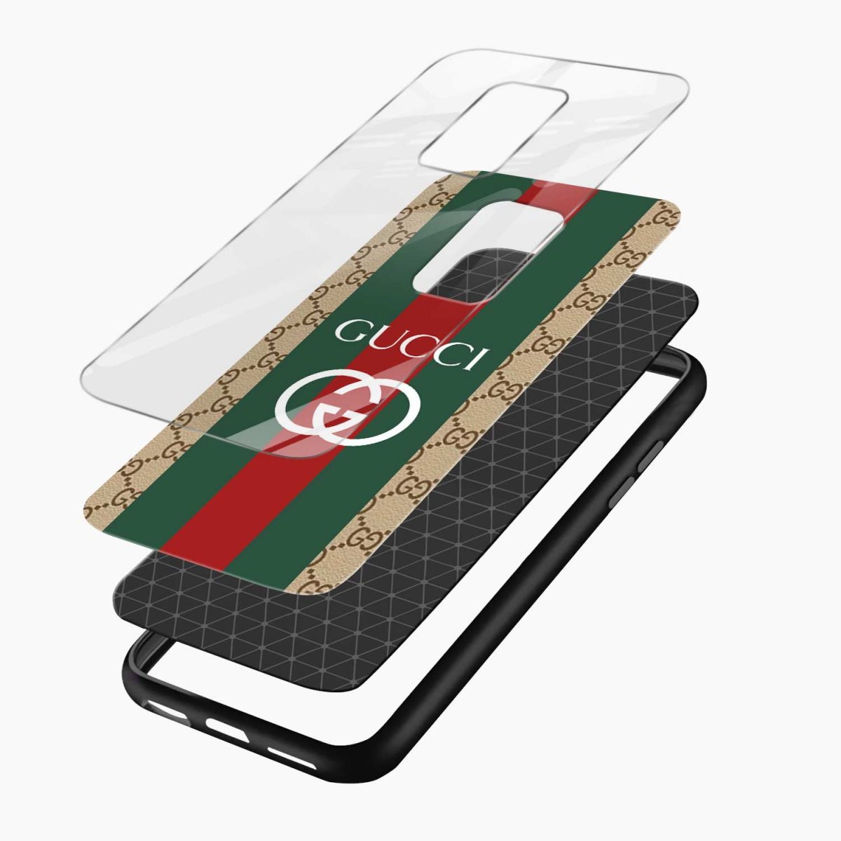 gucci strips pattern layers view redmi note9 back cover
