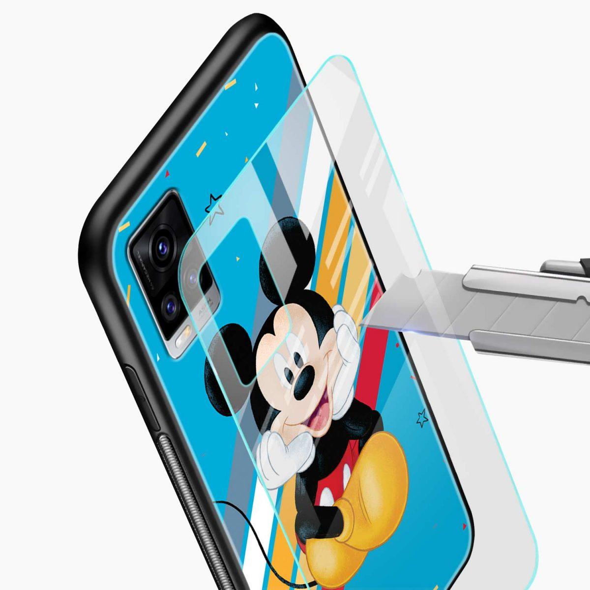 cute mickey mouse disney cartoon glass view vivo v20 back cover