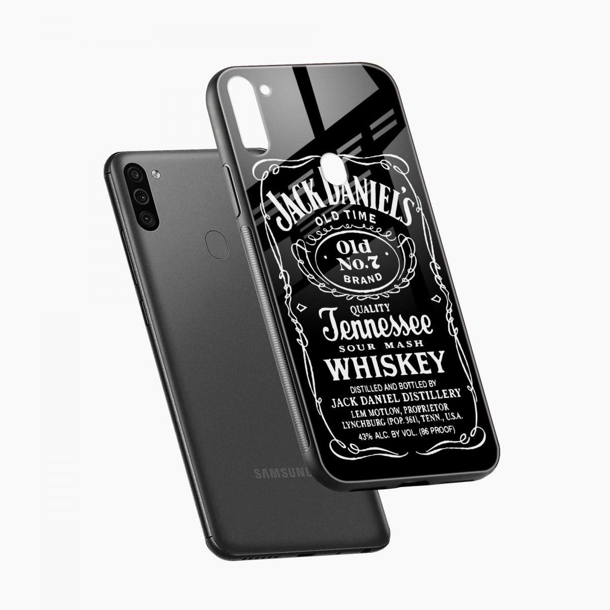 jack daniels whiskey diagonal view samsung galaxy m11 back cover
