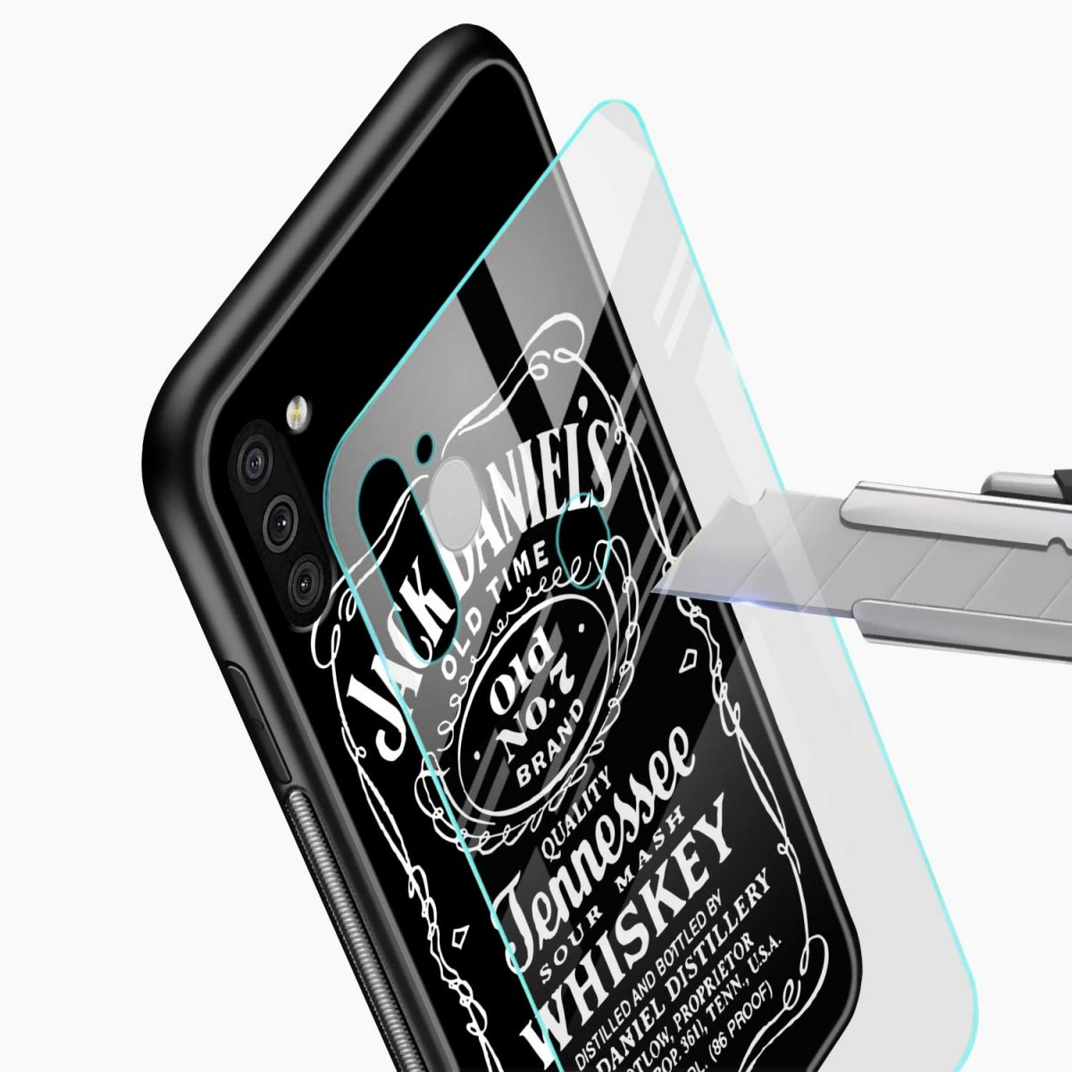 jack daniels whiskey glass view samsung galaxy m11 back cover