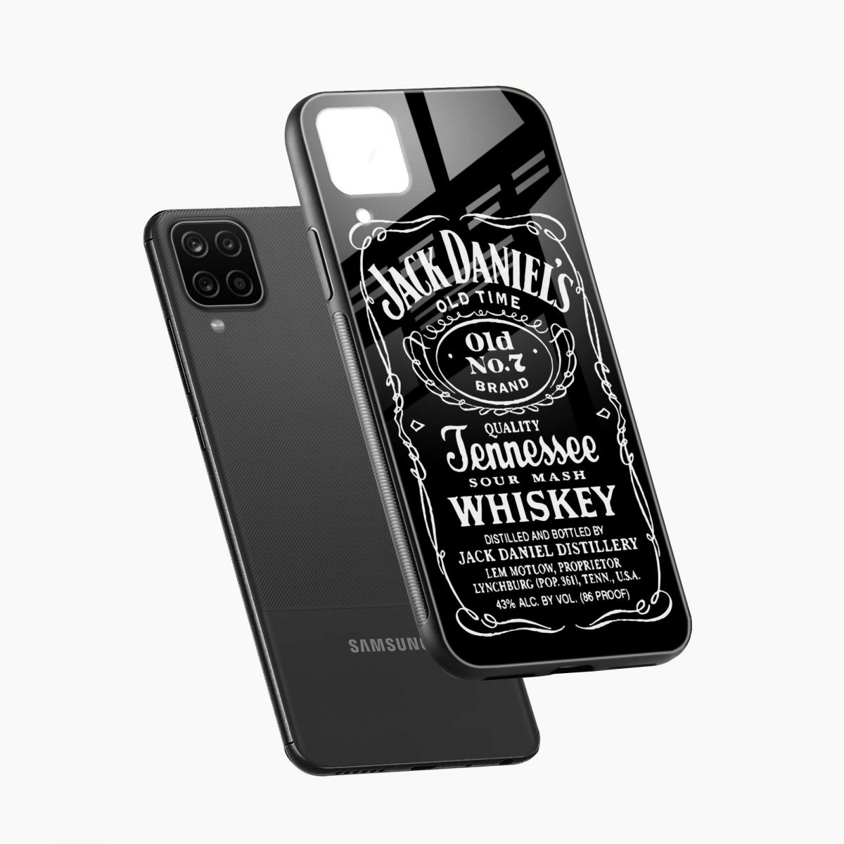 jack daniels whiskey diagonal view samsung galaxy a12 back cover