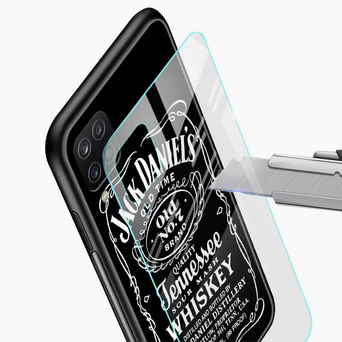 jack daniels whiskey glass view samsung galaxy a12 back cover