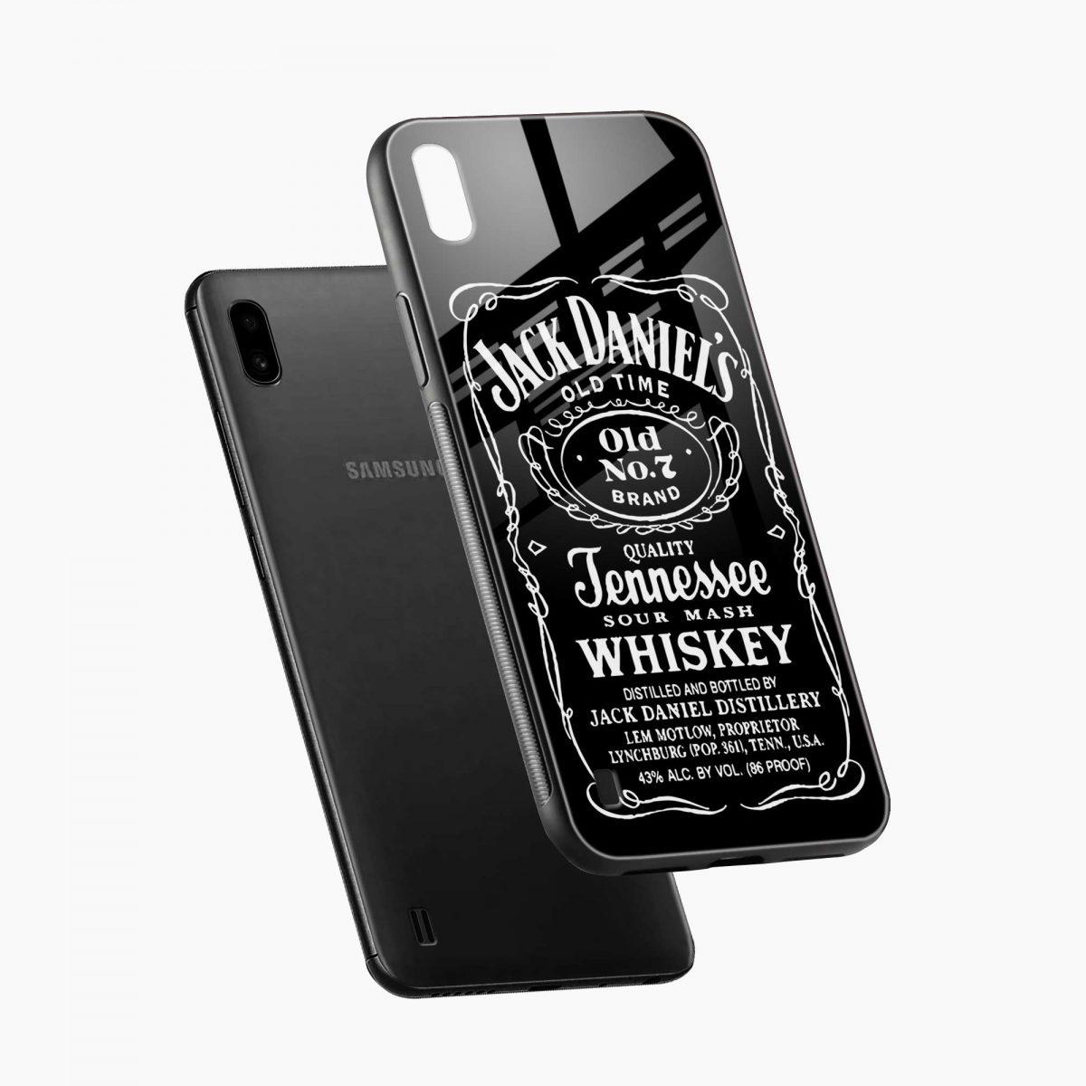jack daniels whiskey diagonal view samsung galaxy a10 back cover