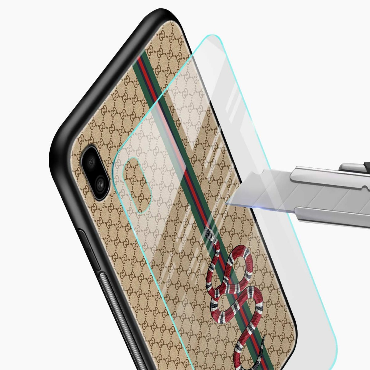 gucci snake pattern glass view samsung galaxy a10 back cover