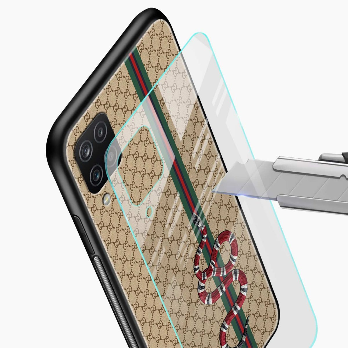gucci snake pattern glass view samsung galaxy a12 back cover