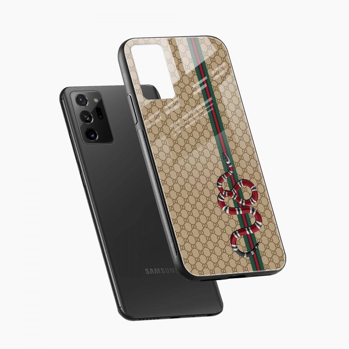 gucci snake pattern diagonal view samsung galaxy note20 ultra back cover