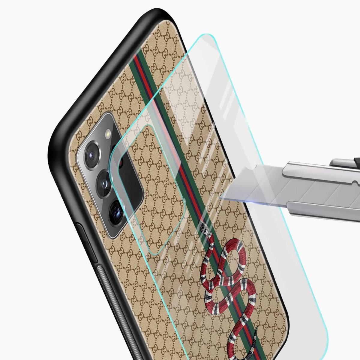 gucci snake pattern glass view samsung galaxy note20 ultra back cover