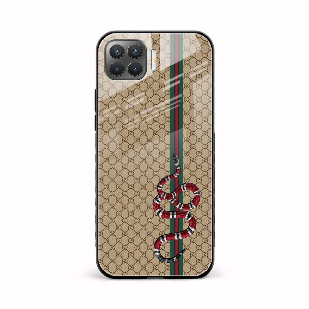gucci snake pattern front view oppo f17 pro back cover