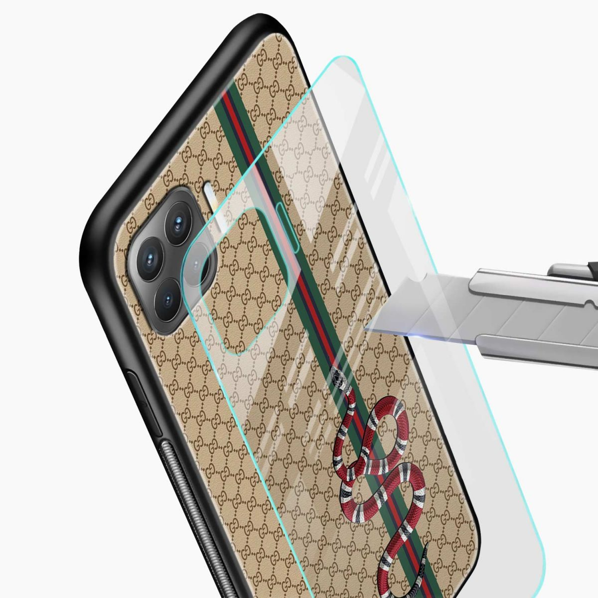 gucci snake pattern glass view oppo f17 pro back cove