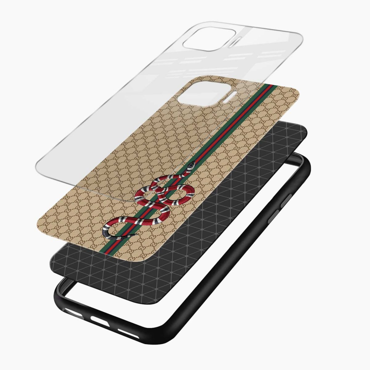 gucci snake pattern layers view oppo f17 pro back cove