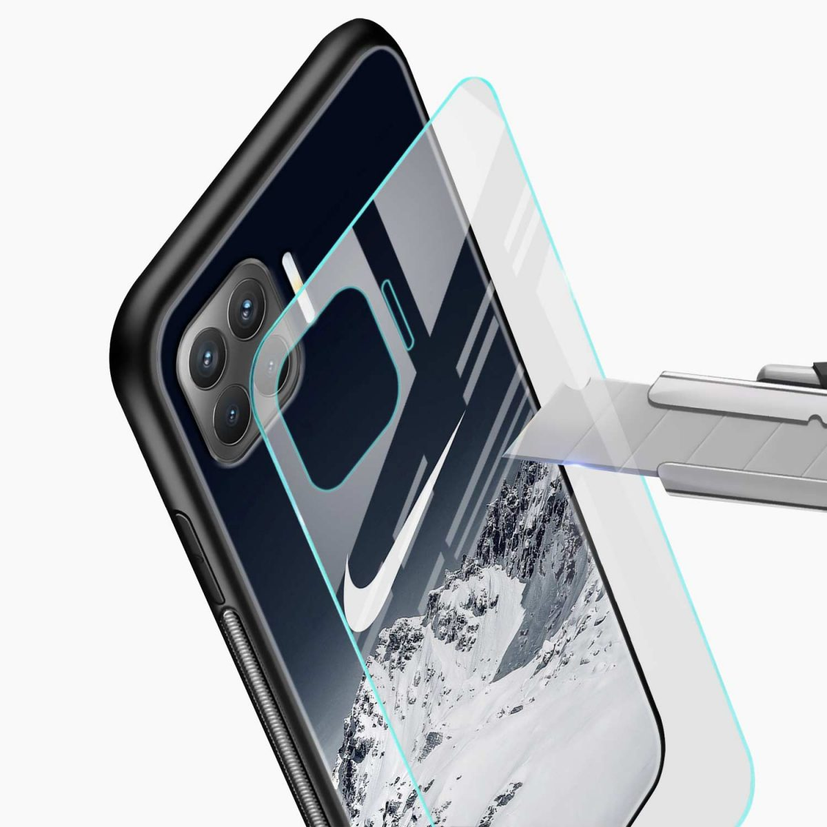 nike mountains glass view oppo f17 pro back cove
