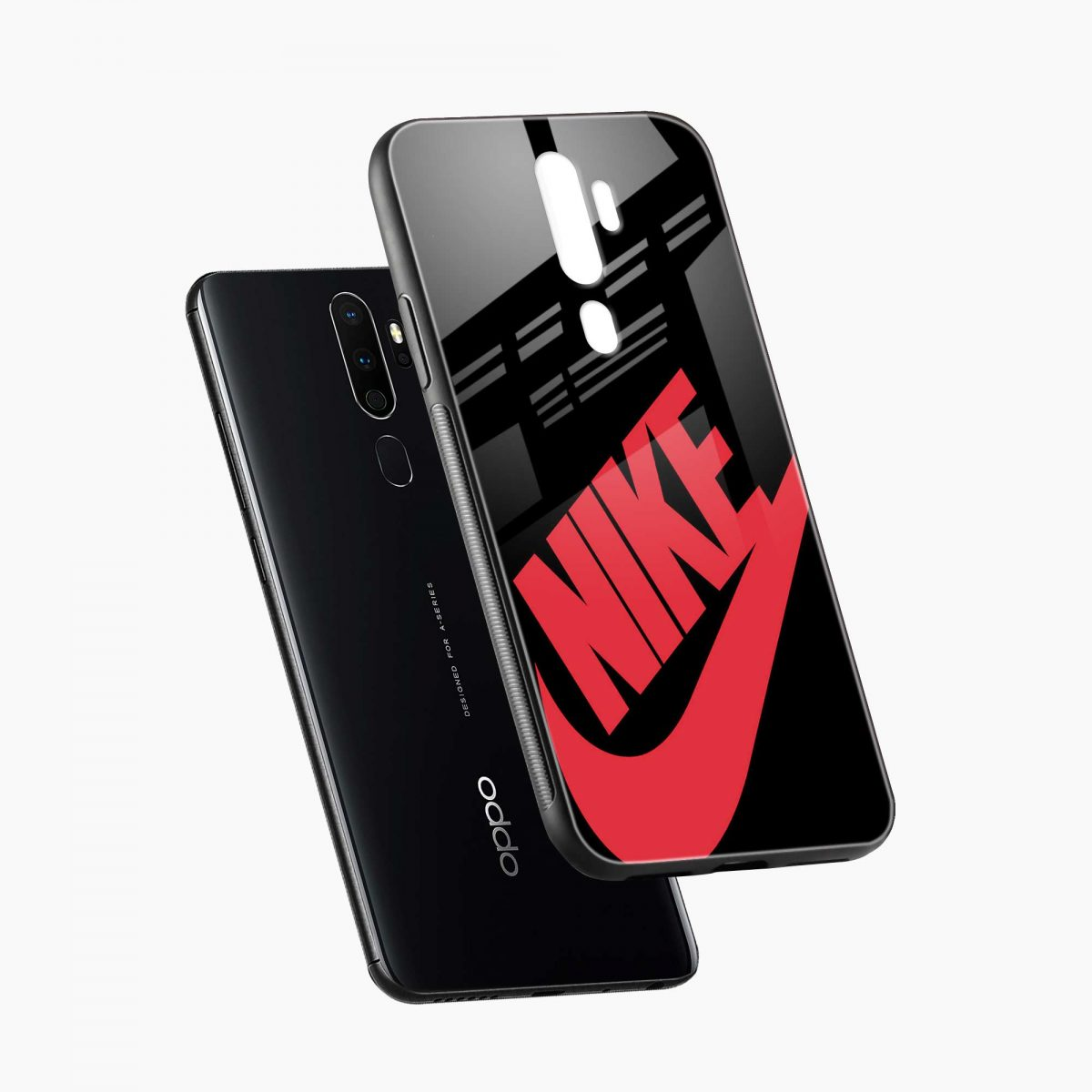 big red nike diagonal view oppo a5 back cover