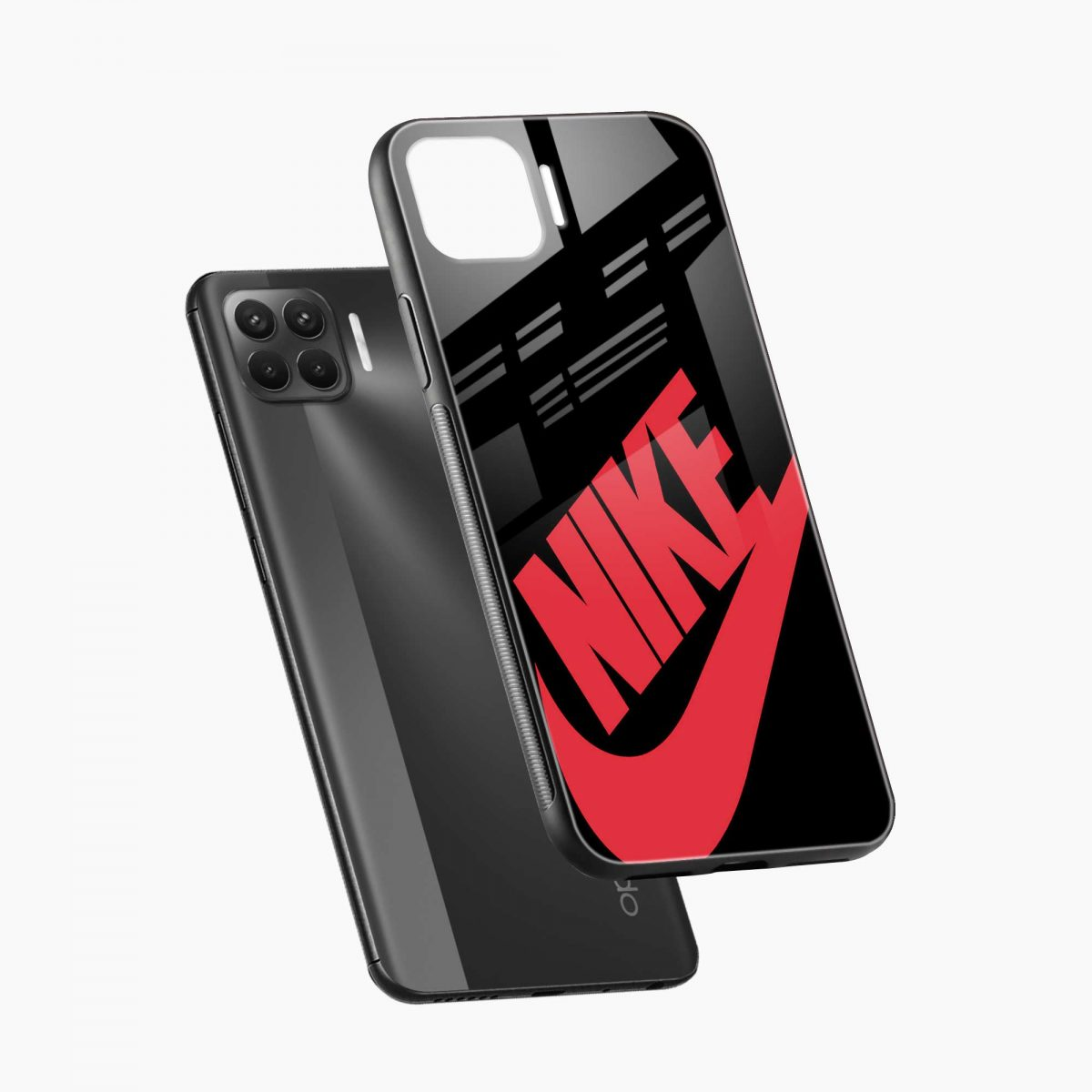 big red nike diagonal view oppo f17 pro back cove