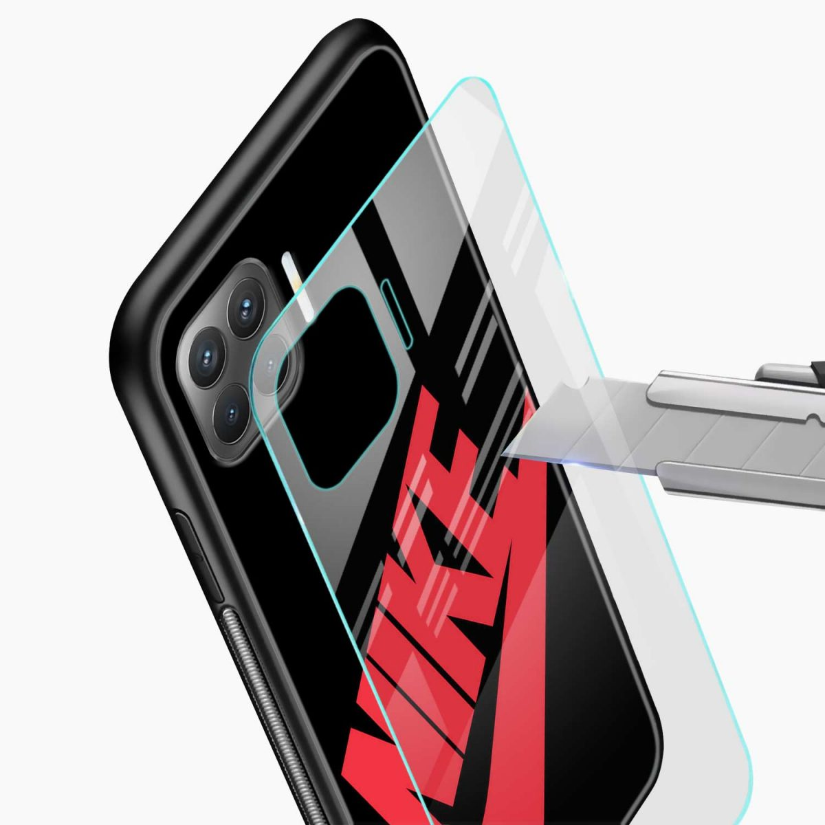 big red nike glass view oppo f17 pro back cove