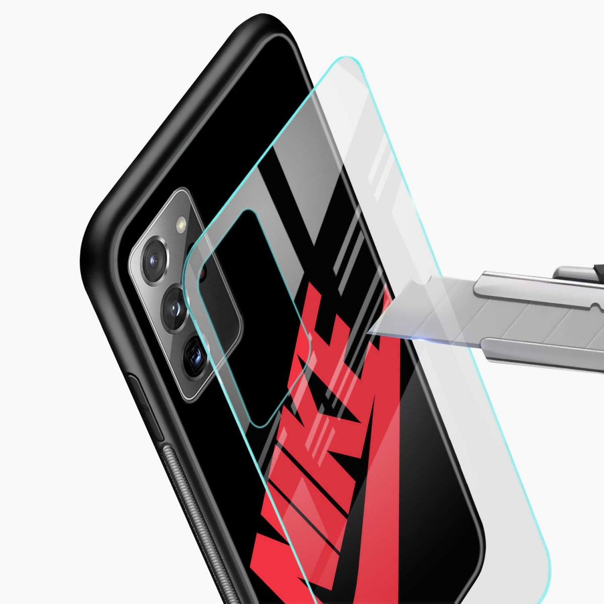 big red nike glass view samsung galaxy note20 ultra back cover