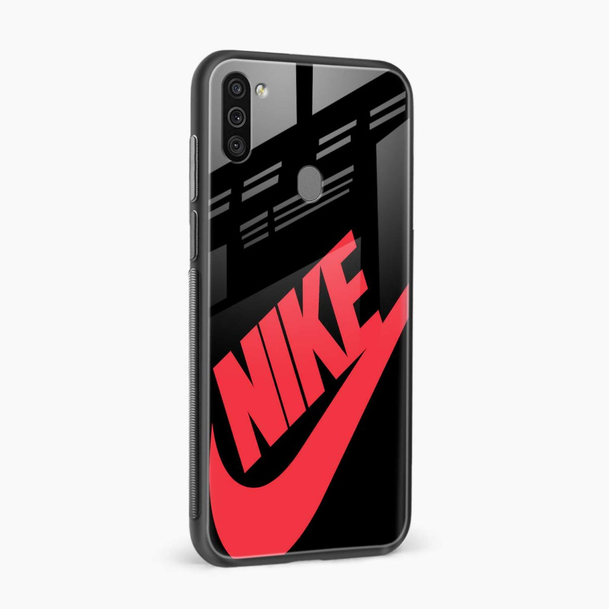 big red nike side view samsung galaxy m11 back cover