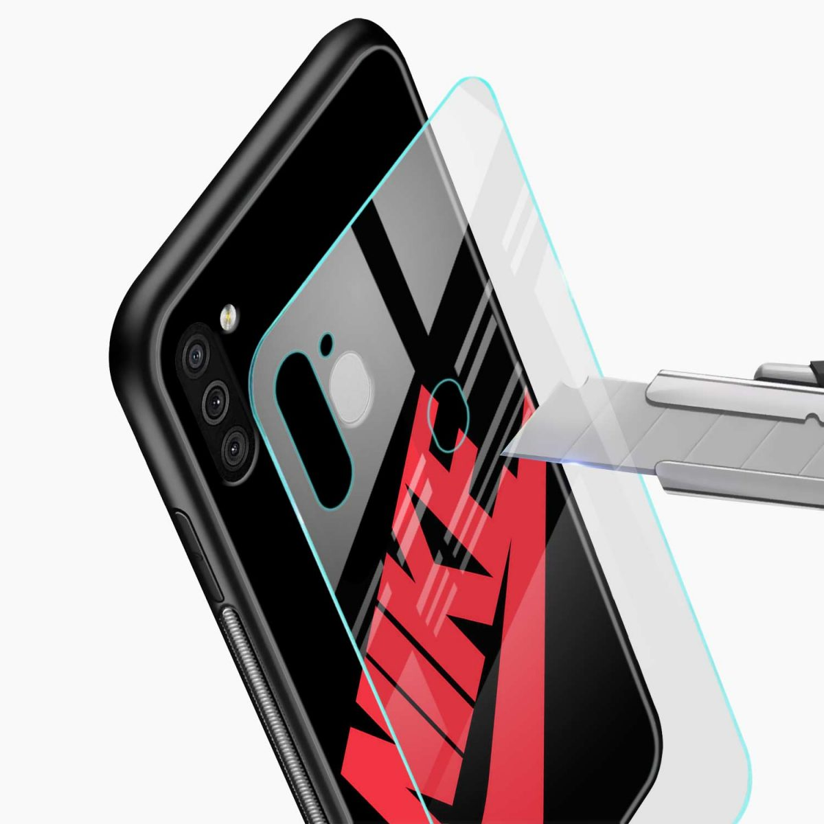 big red nike glass view samsung galaxy m11 back cover