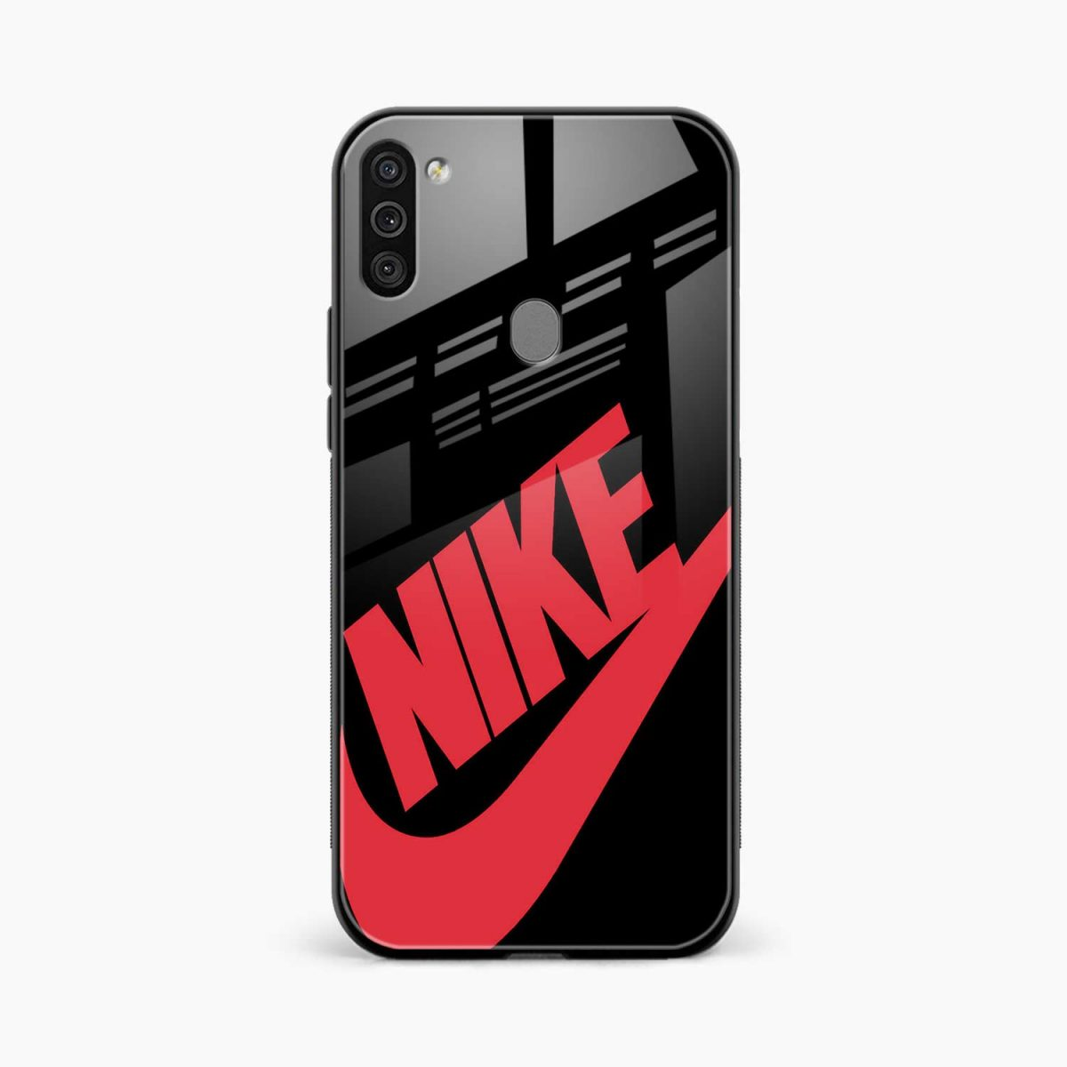 big red nike front view samsung galaxy m11 back cover