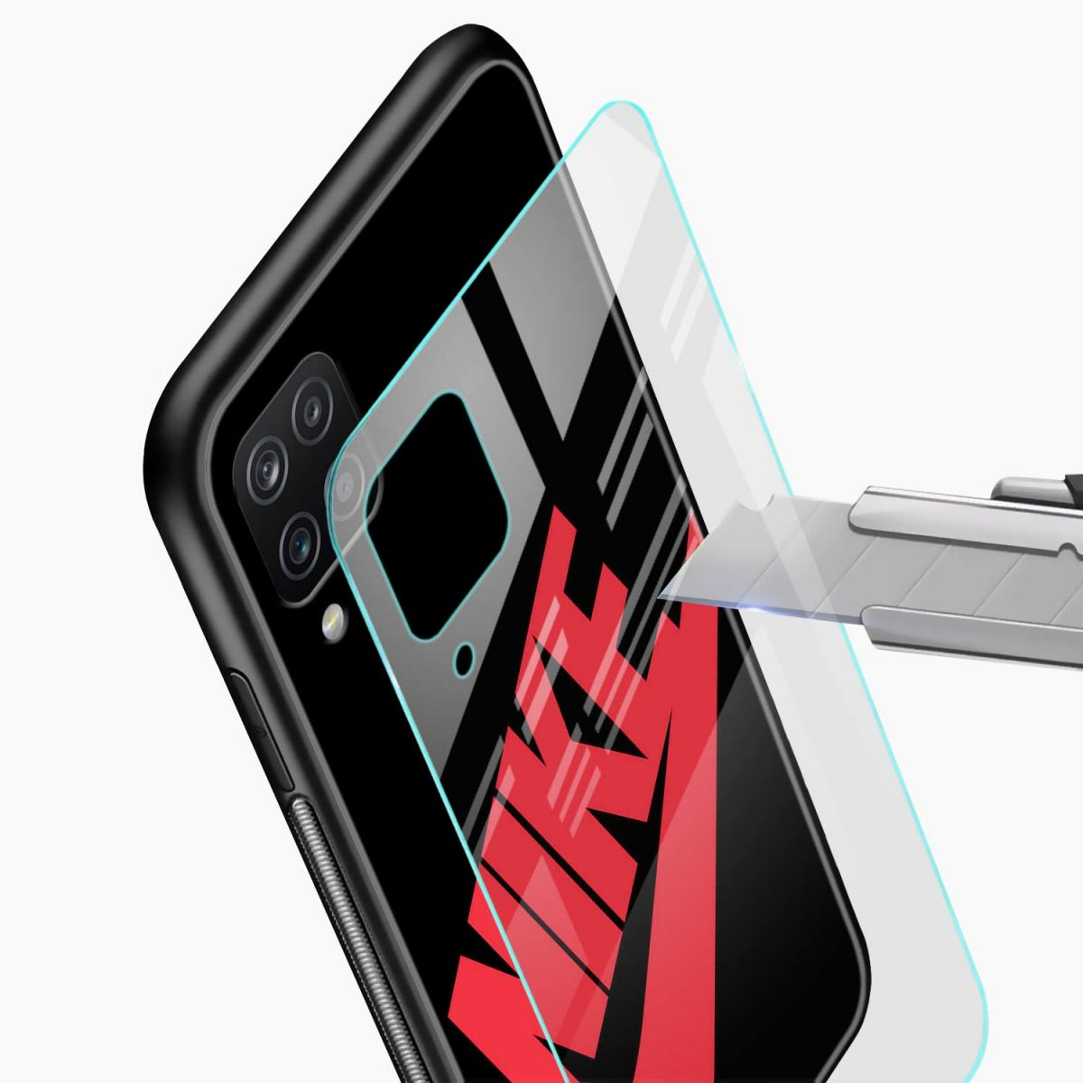 big red nike glass view samsung galaxy a12 back cover