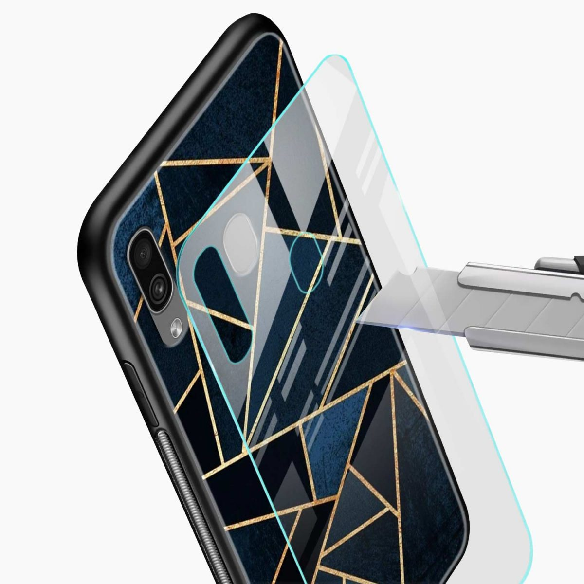 zig zag pattern glass view samsung galaxy a30 back cover