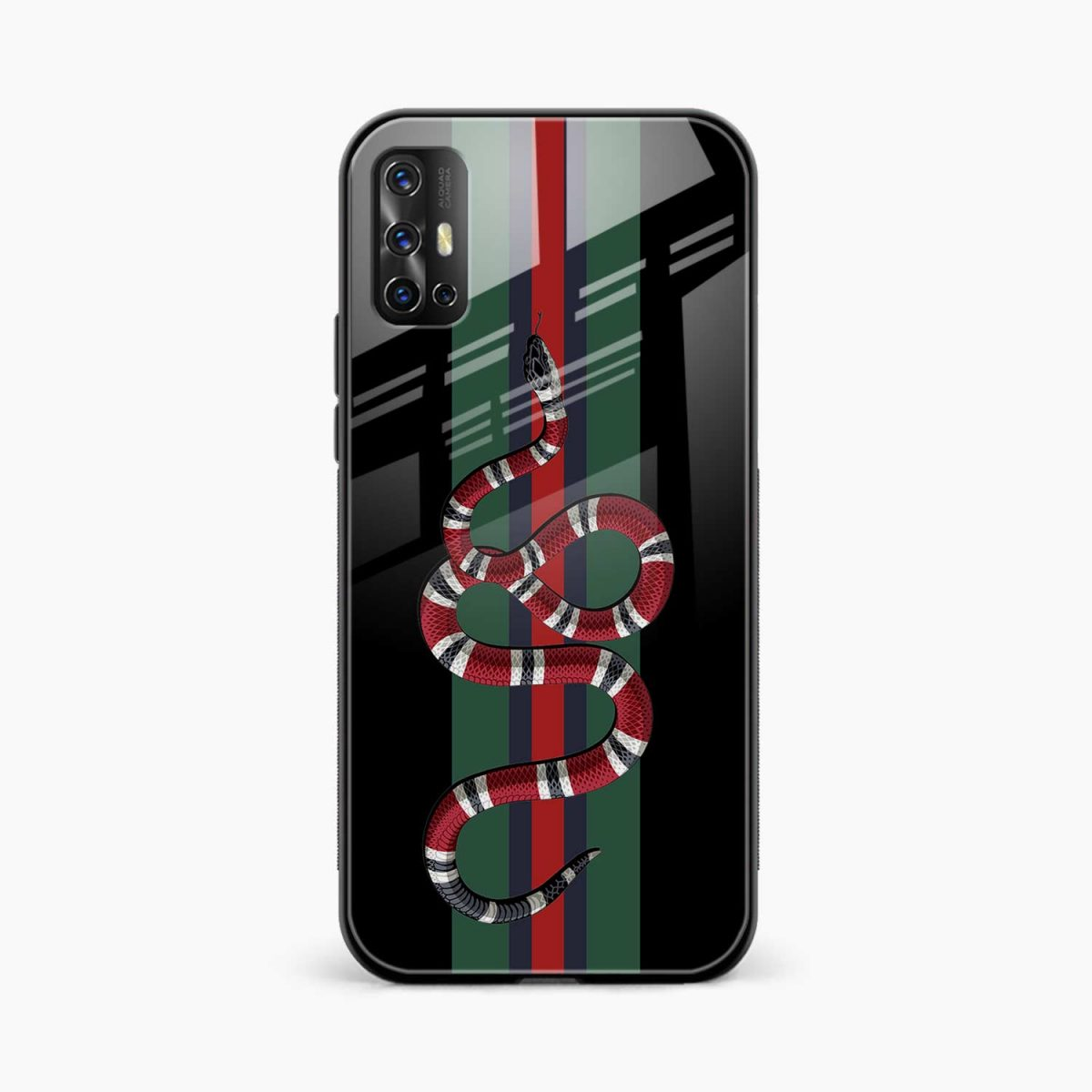 gucci snake with strips front view vivo v17 back cover