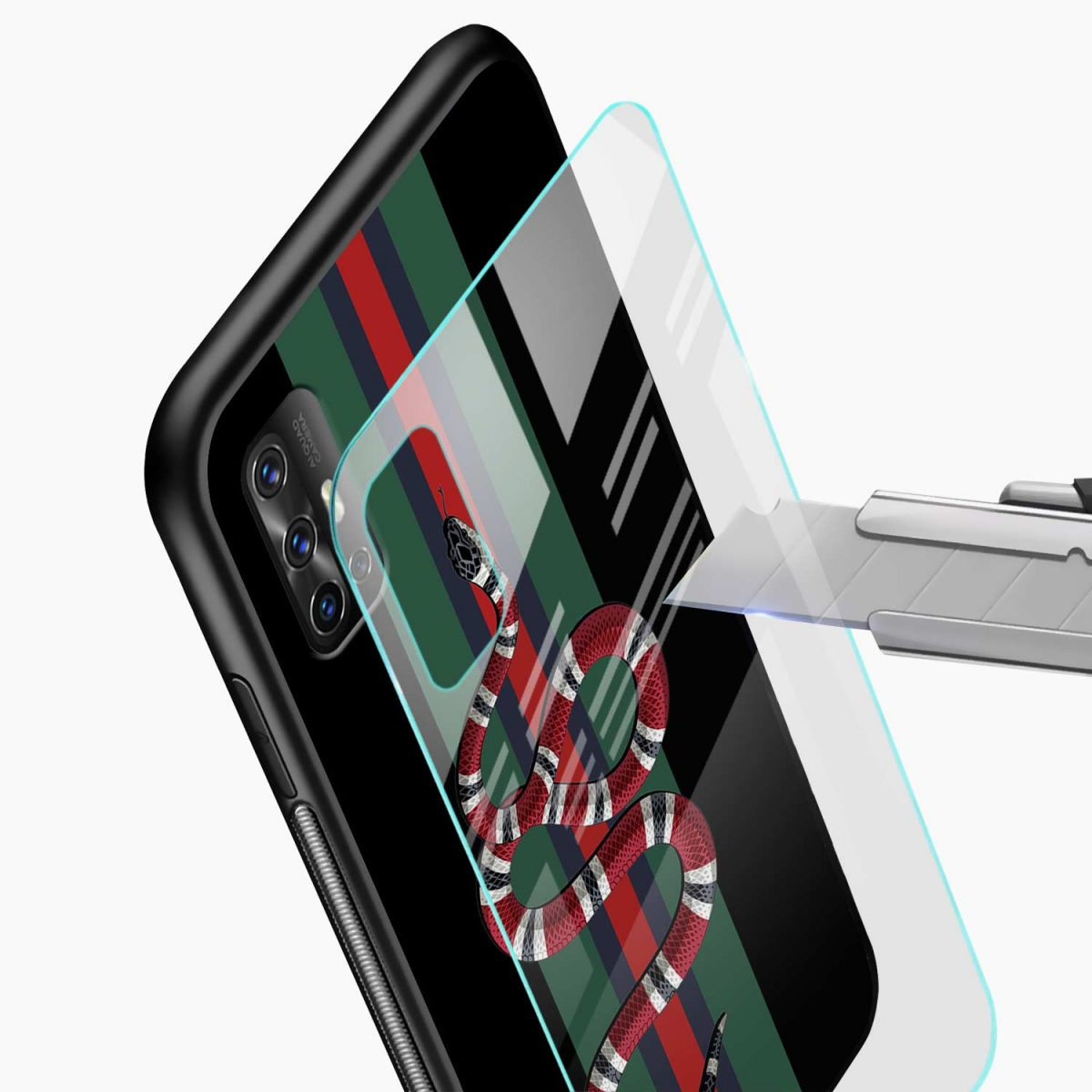 gucci snake with strips glass view vivo v17 back cove
