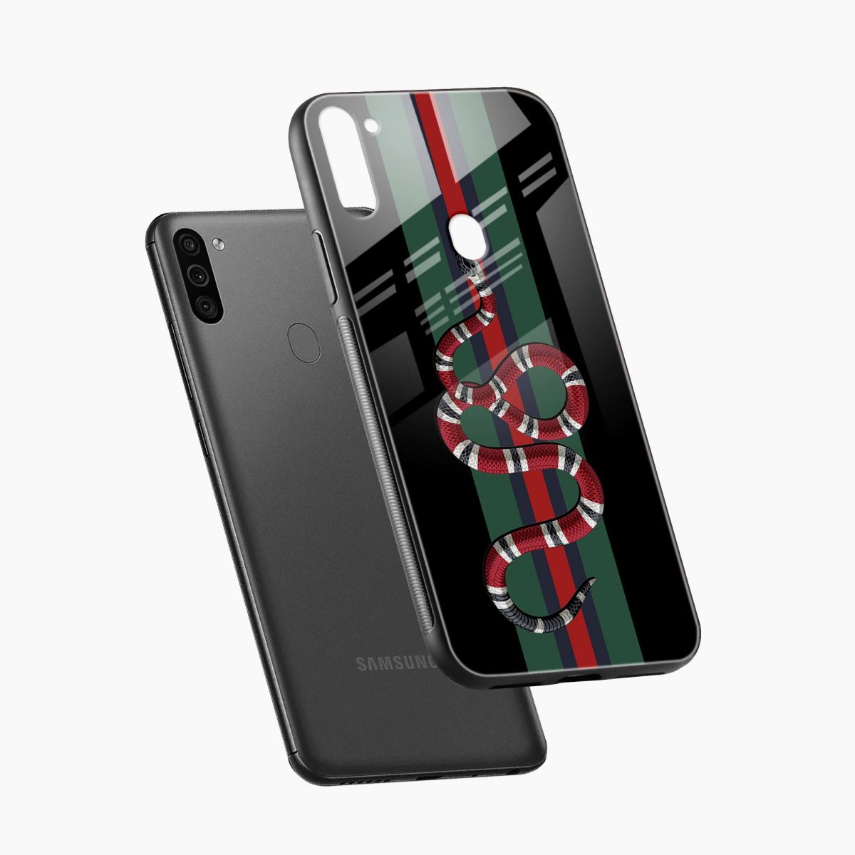 gucci snake with strips diagonal view samsung galaxy m11 back cover