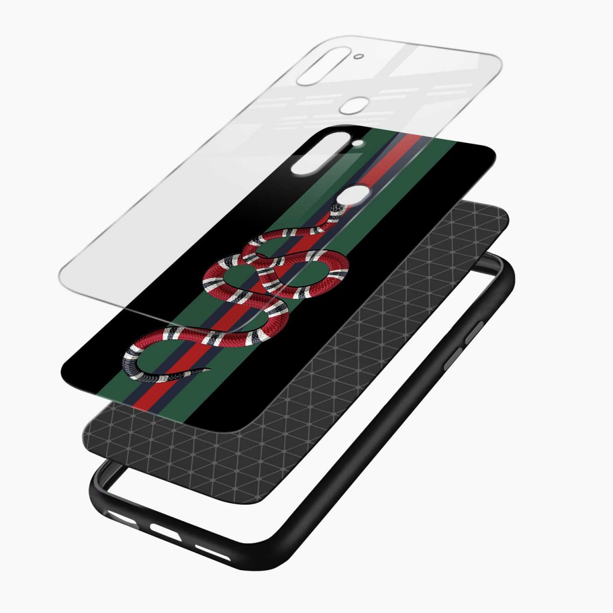 gucci snake with strips layers view samsung galaxy m11 back cover