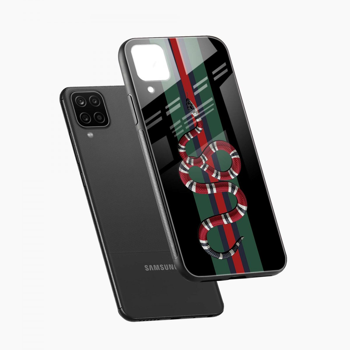 gucci snake with strips diagonal view samsung galaxy a12 back cover