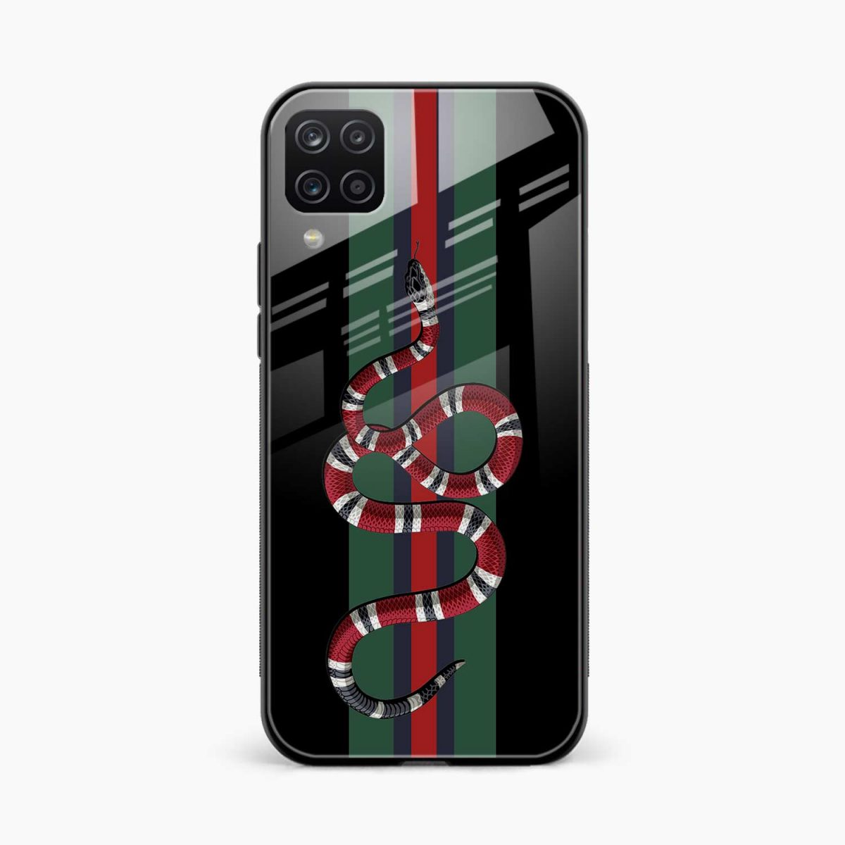 gucci snake with strips front view samsung galaxy a12 back cover