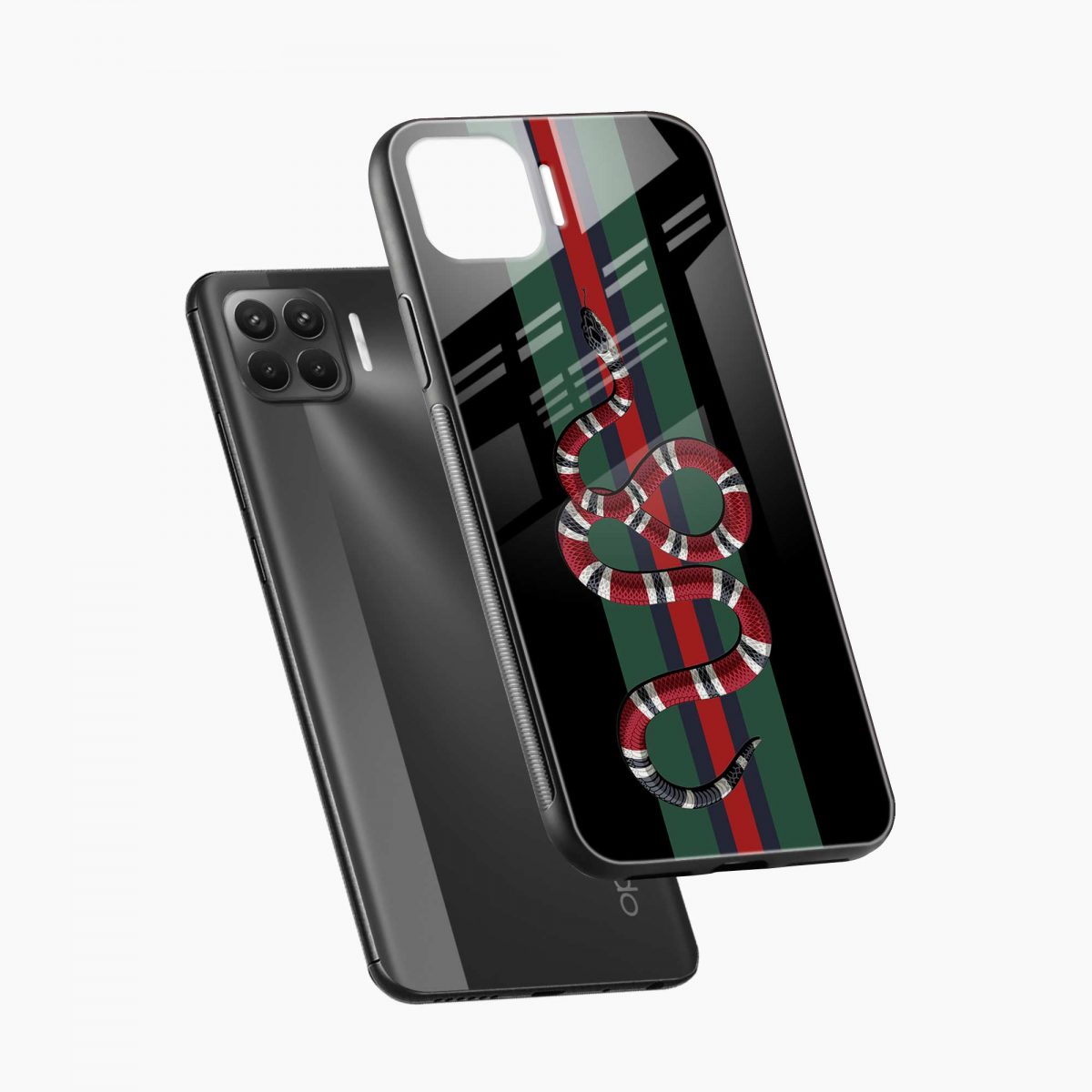 gucci snake with strips diagonal view oppo f17 pro back cove