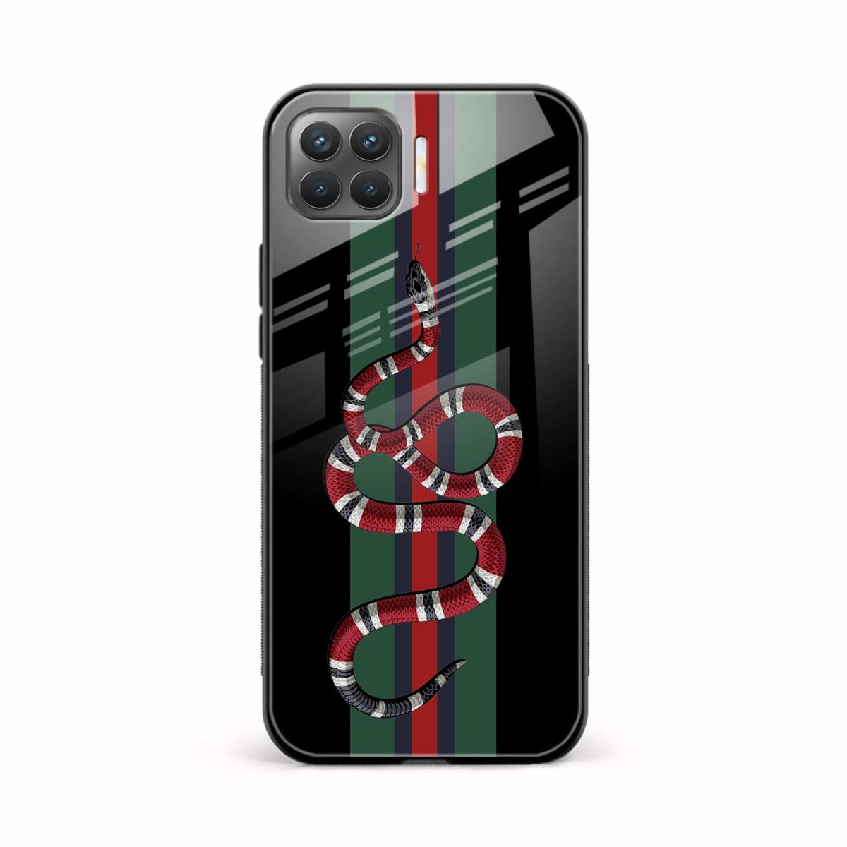 gucci snake with strips front view oppo f17 pro back cover