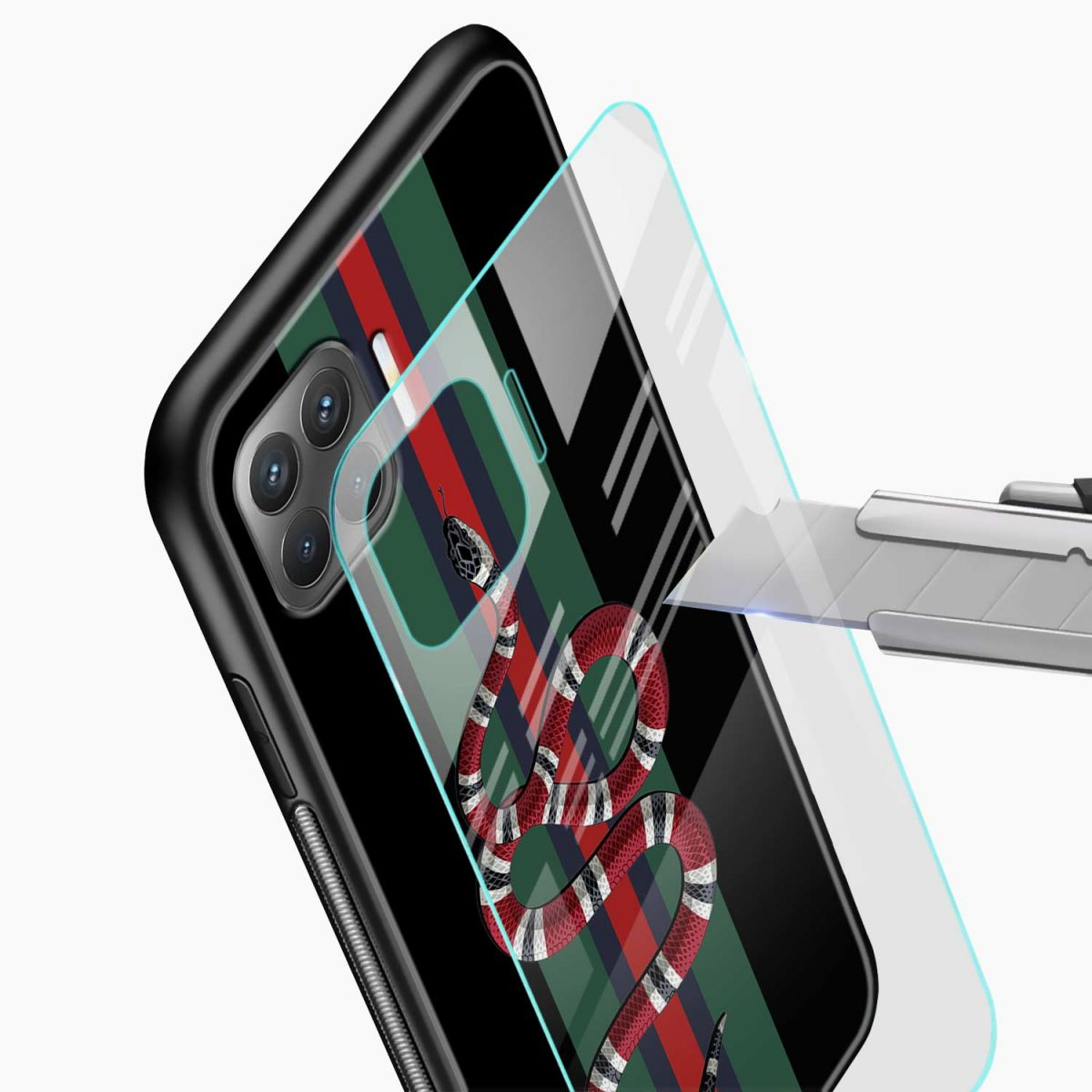 gucci snake with strips glass view oppo f17 pro back cove