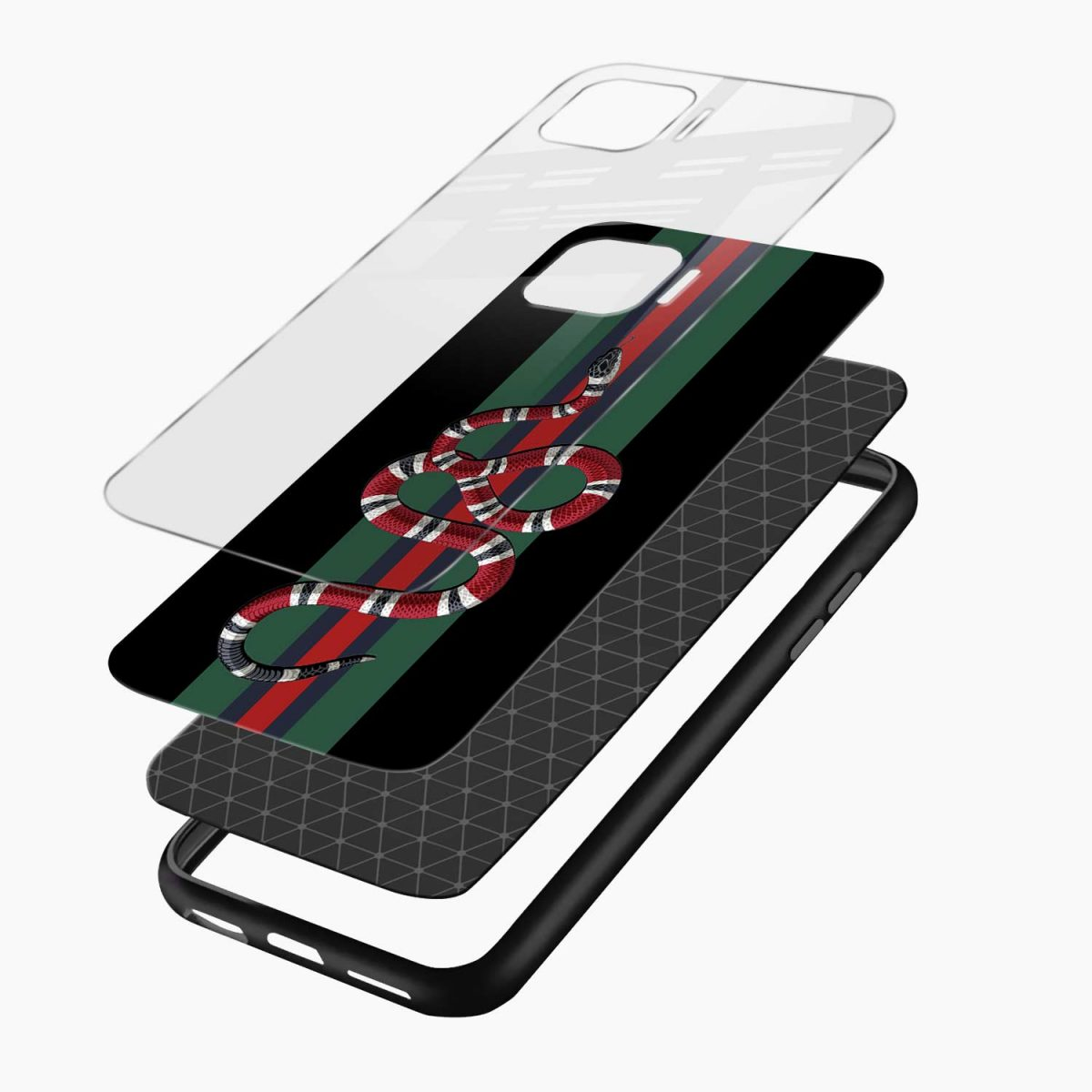 gucci snake with strips layers view oppo f17 pro back cove