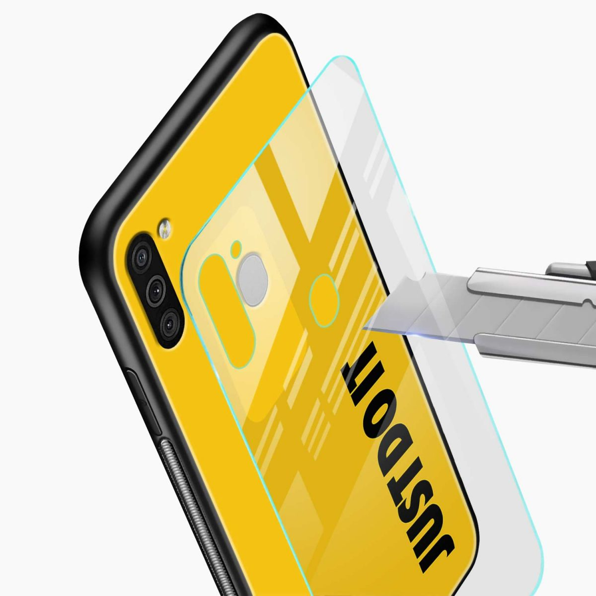 just do it glass view samsung galaxy m11 back cover