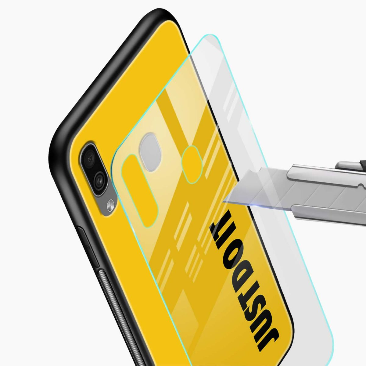 just do it glass view samsung galaxy a30 back cover